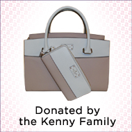 Designer bag donated by the Kenny Family